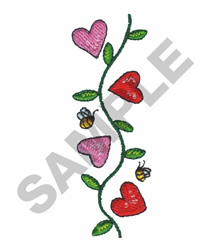 HEARTS WITH BEES embroidery design