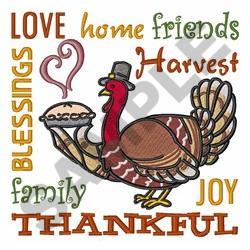 Thankful Turkey embroidery design