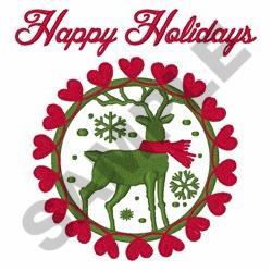 Happy Holidays Deer embroidery design
