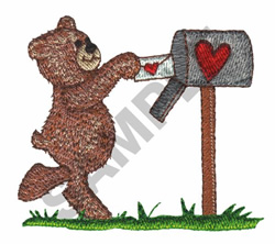BEAR AT MAILBOX embroidery design