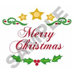 Merry Christmas Holly embroidery design