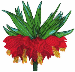 RED CROWN IMPERIAL embroidery design