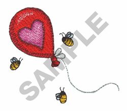 BEES WITH HEART BALLON embroidery design