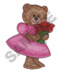 BEAR WITH ROSES embroidery design