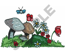 FLOWERS AND MUSHROOMS embroidery design