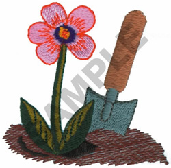 FLOWER AND SHOVEL embroidery design