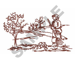 WOMAN RAKING LEAVES embroidery design