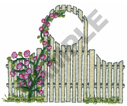 FENCE AND ROSE BUSCH embroidery design