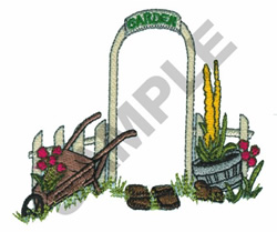 FENCE AND GARDEN SCENE embroidery design