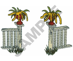 FENCE AND PLANTS embroidery design