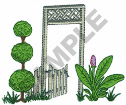 FENCE AND LANDSCAPE embroidery design