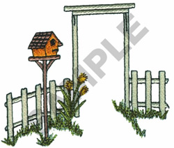 FENCE AND BIRDHOUSE embroidery design