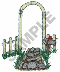 FENCE AND STONE PATH embroidery design