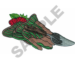 GARDENING GLOVES AND SHOVEL embroidery design