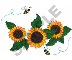 SUNFLOWERS AND BEES embroidery design