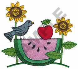 WATERMELON BIRD SCENE embroidery design