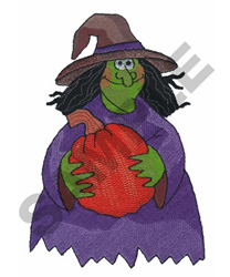 WITCH WITH PUMPKIN embroidery design