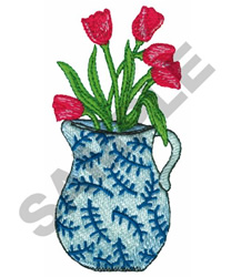 ROSES IN JUG embroidery design