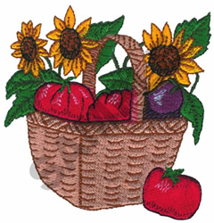 TOMATO AND SUNFLOWER BASKET embroidery design