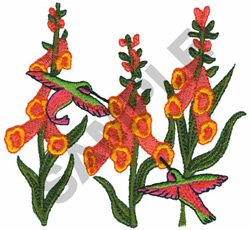 HUMMINGBIRDS AND FLOWERS embroidery design