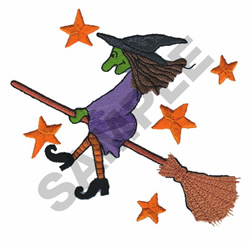 WITCH ON BROOMSTICK embroidery design