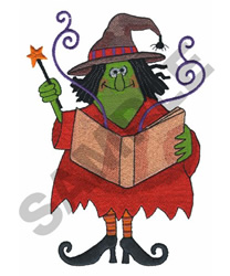 WITCH CASTING SPELL embroidery design
