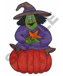 WITCH SITTING ON PUMPKIN embroidery design