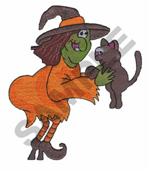 WITCH WITH CAT embroidery design