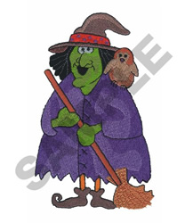 WITCH WITH OWL embroidery design