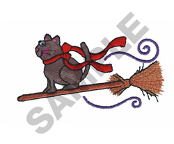 CAT ON BROOMSTICK embroidery design