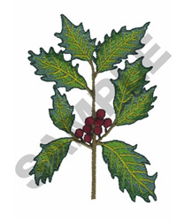 HOLLY LEAVES AND BERRIES embroidery design