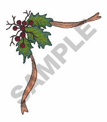 HOLLY BERRIES AND RIBBON embroidery design