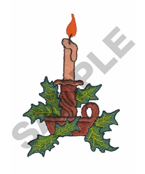 CANDLE & HOLLY embroidery design