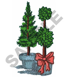TOPIARY AND POTTED TREE embroidery design