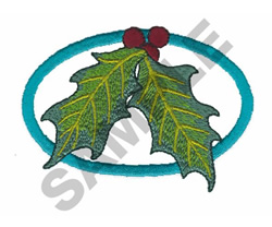 HOLLY LEAVES IN RING embroidery design