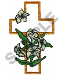 EASTER LILY CROSS embroidery design