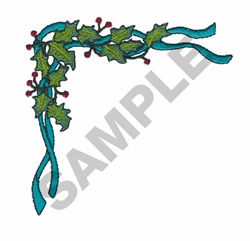 HOLLY & BLUE RIBBON embroidery design