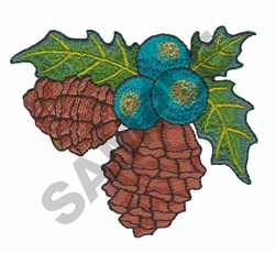 HOLLY & PINECONES embroidery design