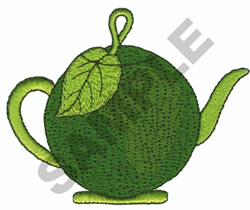 GREEN APPLE TEAPOT embroidery design