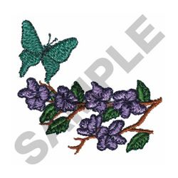 BUTTERFLY LANDING ON BRANCH embroidery design