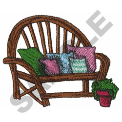 GARDEN BENCH W/ PILLOWS embroidery design