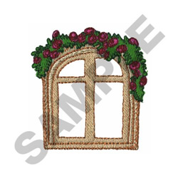 FLORAL ARCHED WINDOW embroidery design