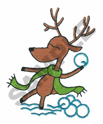 REINDEER SNOWBALL FIGHT embroidery design