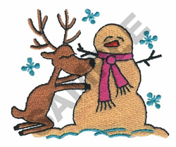 REINDEER BUILDS SNOWMAN embroidery design