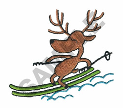 REINDEER SKIING embroidery design