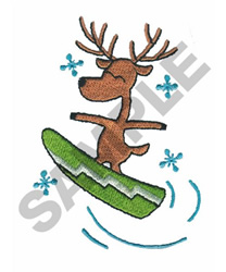 REINDEER SNOWBOARDING embroidery design