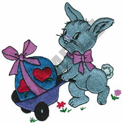 BUNNY WITH EASTER EGG embroidery design