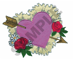 HEART WITH ARROW AND ROSES embroidery design