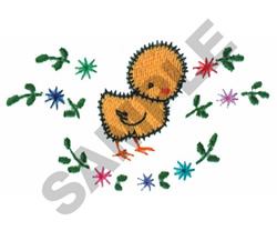 BABY CHICK W/FLORAL DESIGN embroidery design