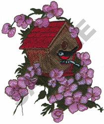 BIRD WITH BIRDHOUSE embroidery design